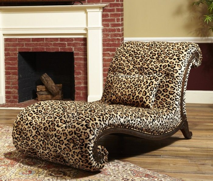 Leopard printed chaise longue cheetah print for Animal print chaise lounge