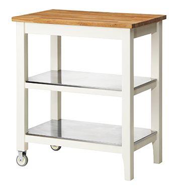 STENSTORP roltafel wit, eiken. Voor extra opberg- en werkruimte.