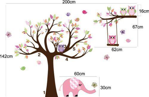 Traumhaft schönes Eule & Baum Wandtattoo / Eulenbaum Wandsticker H:1,42m x B:2,00m: Amazon.de: Baby