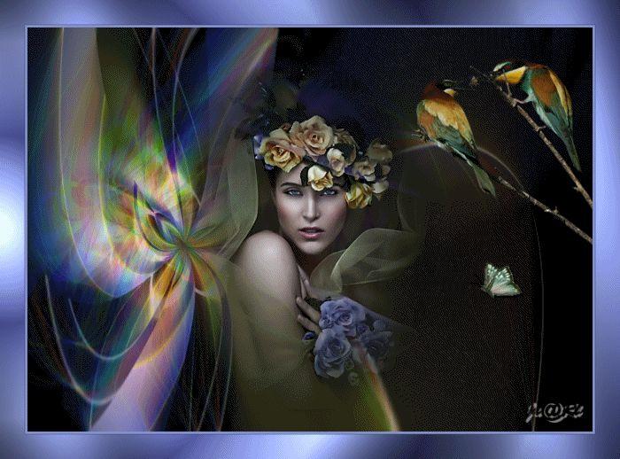 Animazione Ragazza con le rose sulla sua testa e la mano SIFCO ragazza con le rose sulla sua testa e il braccio