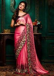 Wedding Wear Pink Satin Embroidered Work Saree
