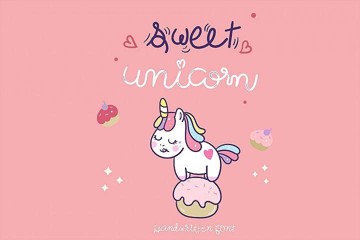 Sweet Unicorn Handwritten Cute Font Kawaii Style 441091 Regular Font Bundles In 2020 Cute Fonts Unicorn Illustration New Fonts