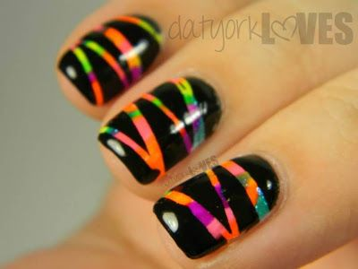 datyorkLOVES: Neon Scratch It Nail Art - Short Nail Design Friendly!