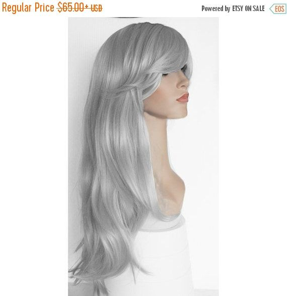 Halloween SALE Ready to ship - Midium Long wavy Silver wig  Grey Gray silver wig -high quality wig by wigglywigs. Explore more products on http://wigglywigs.etsy.com