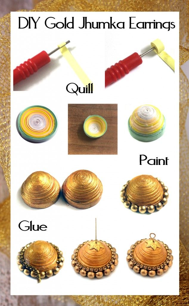 DIY Gold Jhumka Earrings 5
