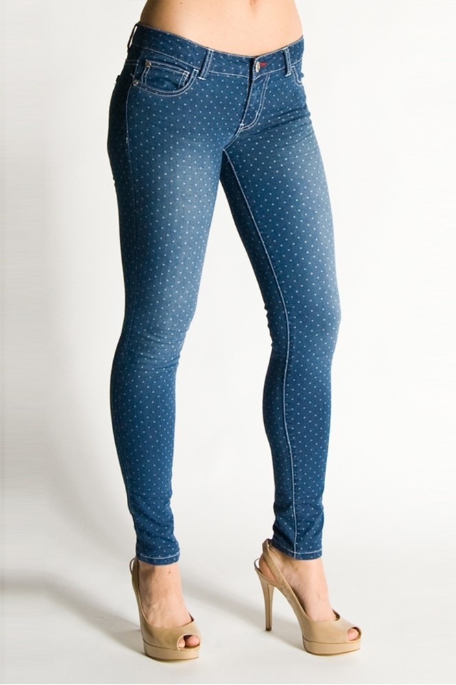 Long Denim Printed Ankle Skinny in Dotted