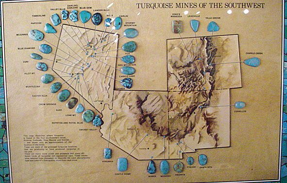 Map Of Some Of The Major Turquoise Mines In The Southwest