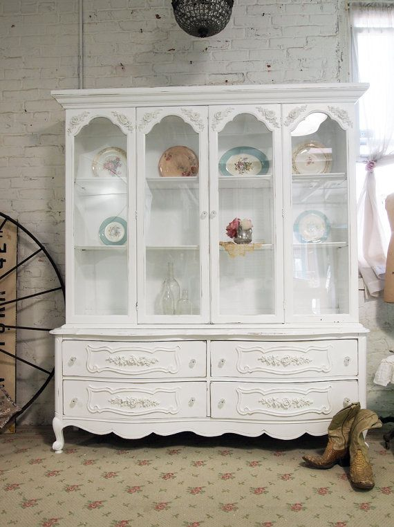 painted cottage chic shabby white french china cabinet cc309 painted cottage cottages and i love. Black Bedroom Furniture Sets. Home Design Ideas