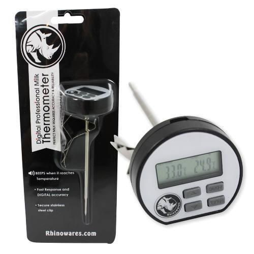 Easy to set and read digital thermometer for quick accurate measurement of textured milk and other beverages. An audible alarm beeps when the desired temperature you set has been reached. The specially designed stainless steel clip allows the thermometer to sit perfectly in any milk pitcher. Designed with positive lock, quick-release action, the thermometer stem can be adjusted to the desired height.  When the clip is removed, the thermometer can also be used for general purpose cooking…