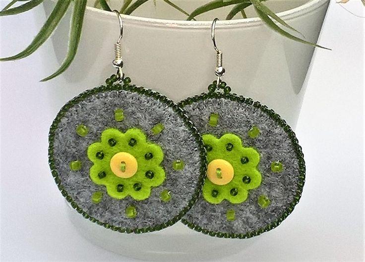 Filcowe kolczyki z kwiatkami - Kreatywny-Zakatek - Kolczyki z filcu
