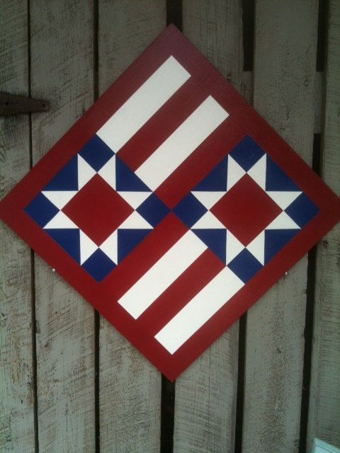 Painted Wood Barn Quilt Star & Stripes by TheBarnQuiltStore