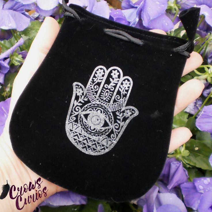 """5"""" Black Velvet Drawstring Pouch Hamsa Hand Bag for Tarot Runes Charms Wicca"""