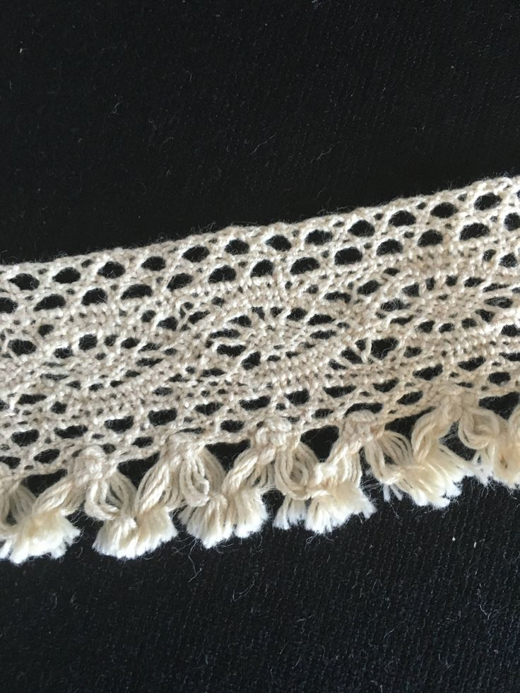Beige cotton, crochet designed lace, with a small tassel edge. 4 cm wide. CR100 by TheQuiltedCheese on Etsy