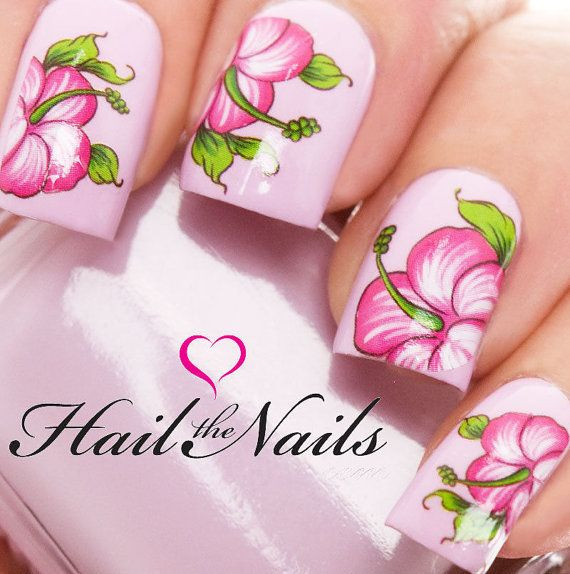 Nail Art Wraps Water Transfers Decals Hibiscus by Hailthenails