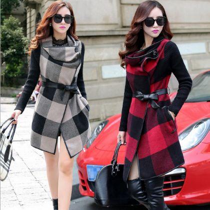 Wool Plaid Cloak Long Coat