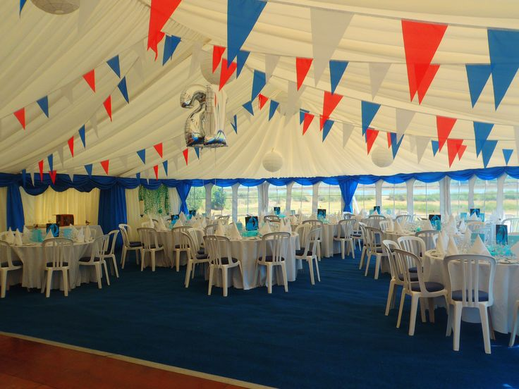 Red, white and blue bunting give a real wow to this 21st birthday party marquee...