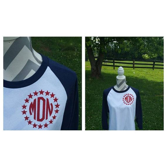 Hey, I found this really awesome Etsy listing at https://www.etsy.com/listing/387031900/monogrammed-raglan-34-tee-star