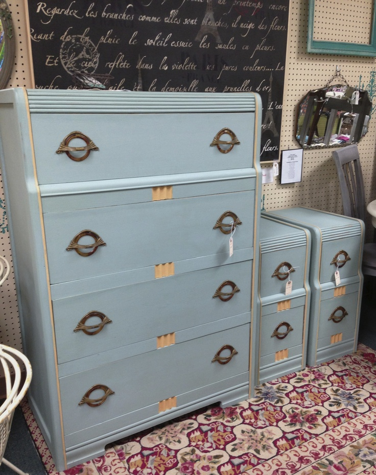 Art Deco chest of drawers   end tables restyled with Duck Egg Blue   a  mixture. 158 best art deco furniture flip images on Pinterest   Art deco