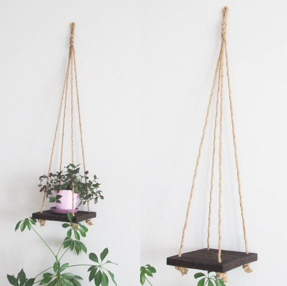 Rustic Wood Hanging Shelf with Rope, Rustic Wood Wall Shelf, Wooden Hanging Shelves, Plant Shelf, Boho Floating Shelf, Planter Hanging