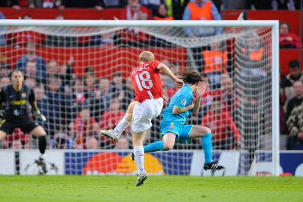 Champions League semi-final second leg, April 29 2008, Old Trafford: Manchester United 1 Barcelona 0: Paul Scholes the only goal