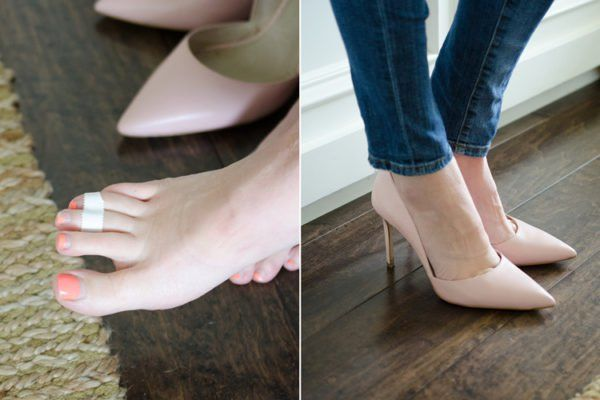 Tape either your third and fourth (or second and third toes) together with medical tape or Scotch tape to lessen the pressure on the ball of your foot.