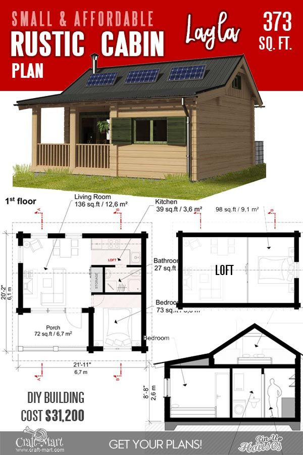 13 Best Small Cabin Plans With Cost To Build Craft Mart In 2020 Small Cabin Plans Cabin Floor Plans Cabin Plans With Loft