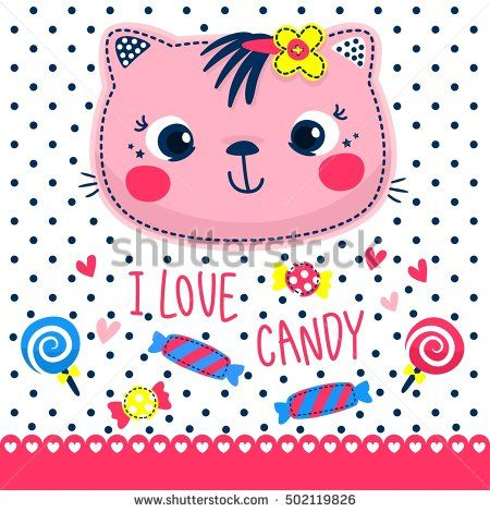 "Cute cat girl with sweet candy and text ""i love candy"" on polka dot background illustration vector."