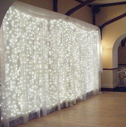 approximately 12 strands of lights and then on each strand there is 25 lights - $25.                       Amazon.com : AMARS 3M*3M 300 LED Wedding Window Lights Curtain String Fairy Lights Outdoor 110V 8 Modes Background/Wall Lights for Christmas XMAS Party Home Festival Decoration Lighting (Warm White) : Patio, Lawn & Garden