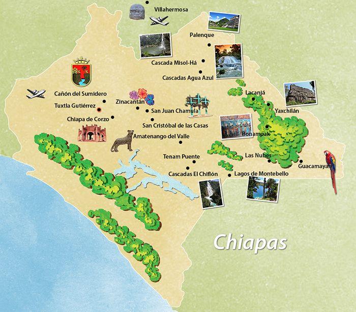 Paquetes a Chiapas PREMIUM ® - Mapa de los Recorridos