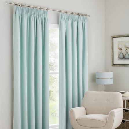 Dunelm Solar Blackout Pencil Pleat Curtains in Mint Blue (228cm x 137cm)
