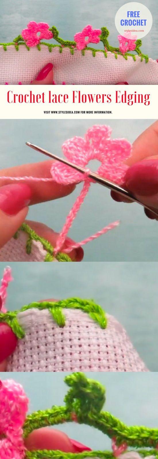 Crochet lace Flowers Edging - #crochet #freepattern #flowers