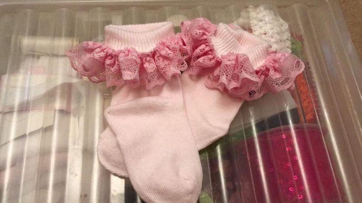 Pink hand frilled socks  #girly #princess