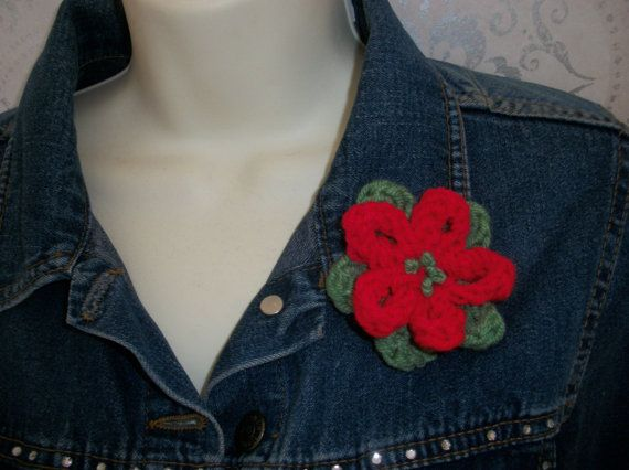 Floral Brooch Hand Knitted  Gift by thekittensmittensuk on Etsy, £5.00