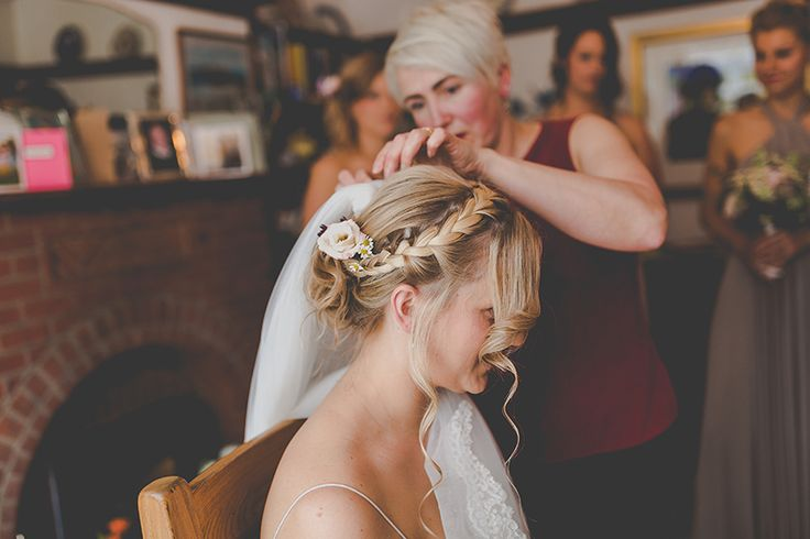 rustic bridal hair styles Copyright Sam and Louise photography www.samandlouise.co.uk Crabbs barn