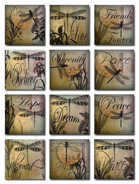 Dragonflies Inspirational Words Digital Image Collage Sheet JPEG (A-27)