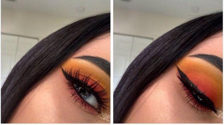 Blending goals  sunset eyeshadow - orange red yellow