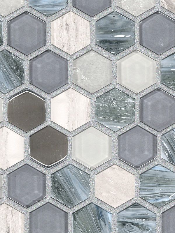 Blue Gray Hexagon Glass Marble Mosaic Backsplash Com Marble Mosaic Backsplash Blue Glass Tile Backsplash Beige Glass Tiles