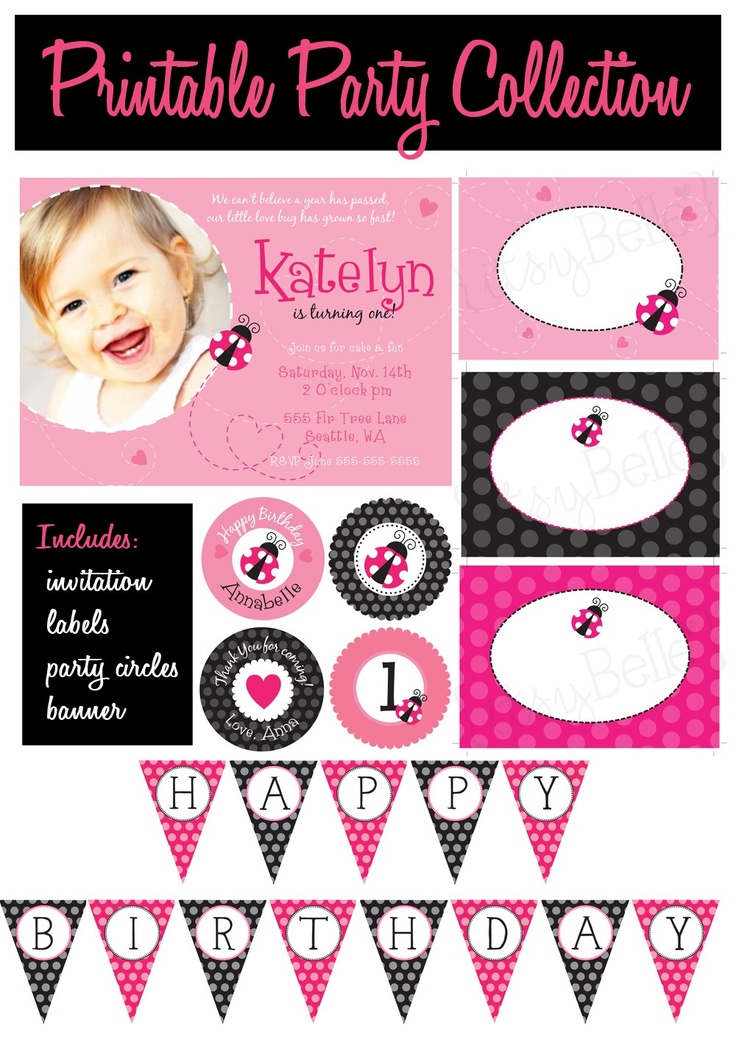 pink lady bug party collection printable party circles