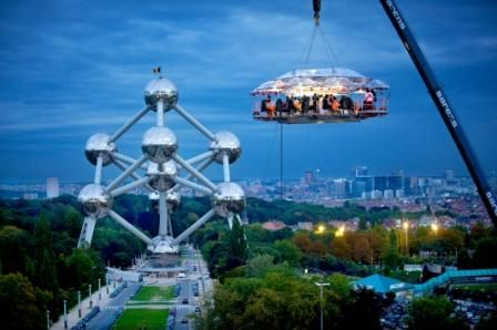 Brussels, Belgium.  Dinner in the Sky