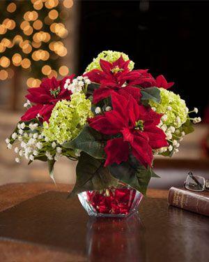 Mini Silk Poinsettia Arrangement - Red