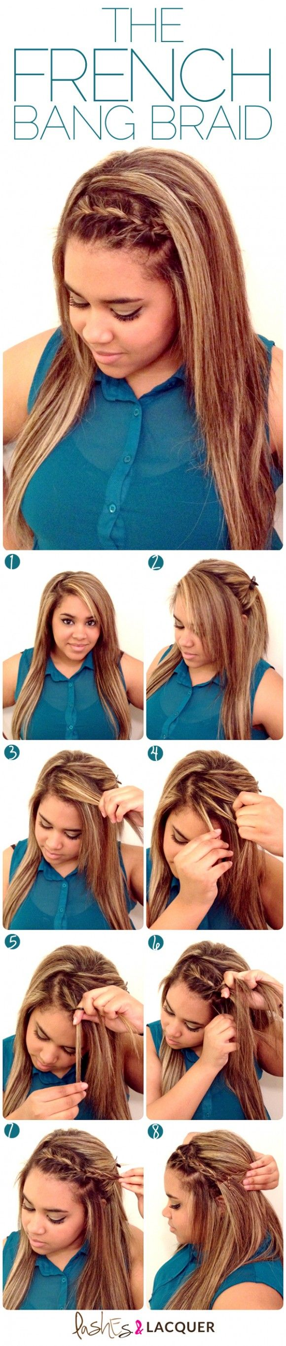How-to DIY: The French Braid Bang -- would be super cute..if I had bangs.