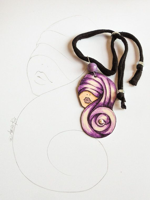 Hand painted pendant paper jewelry  eco-friendly by TheRollyS #italiasmartteam