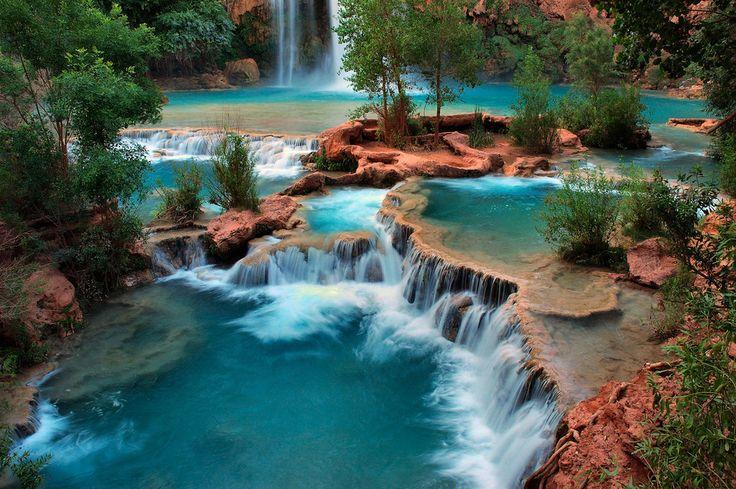 Clear blue water at Havasu Falls in Supai, AZ | Arizona ...