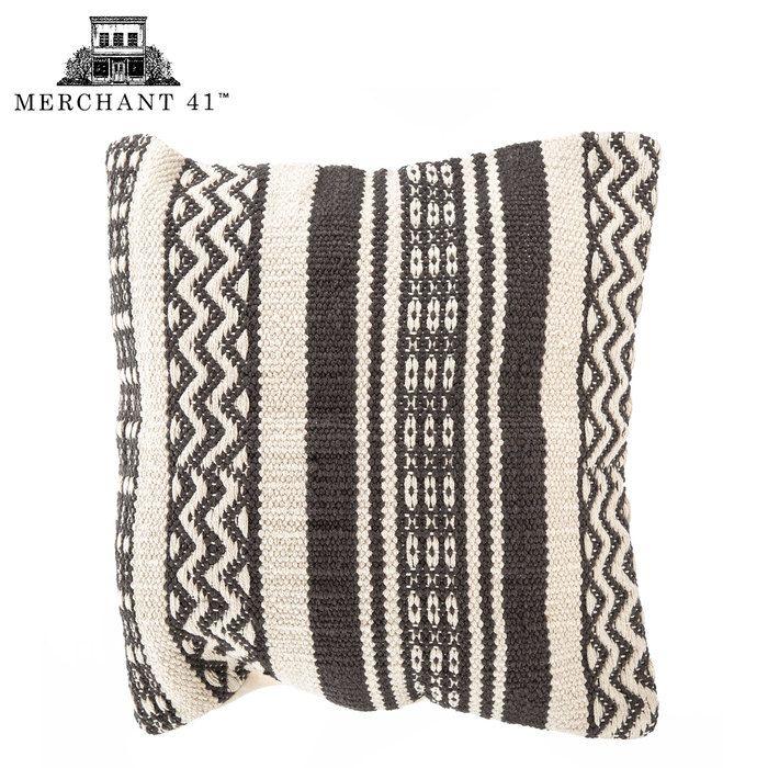 Gray & Cream Woven Pillow Cover
