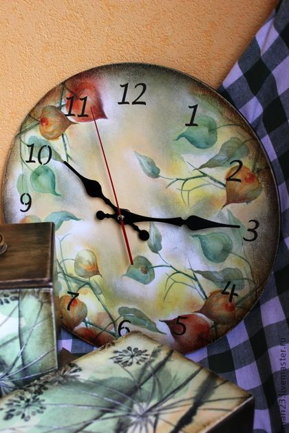 "Часы для дома ручной работы. Ярмарка Мастеров - ручная работа Часы ""Физалис"". Handmade."
