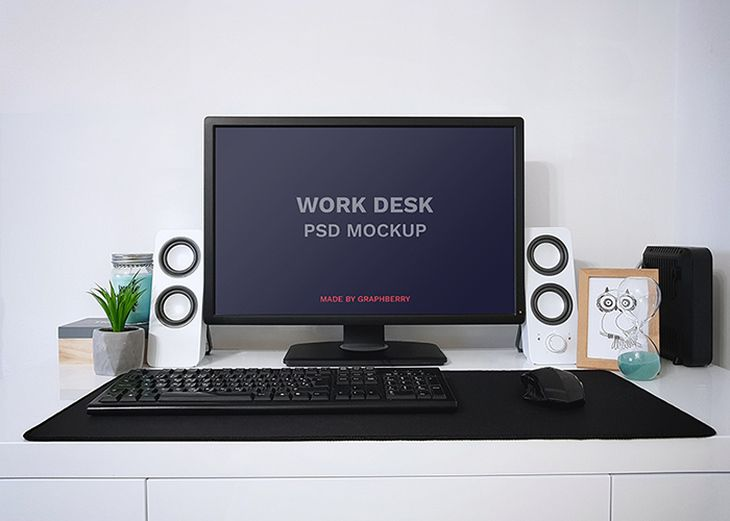 Work Desk Psd Mockup Mockup Psd Mockup Desk Mockup