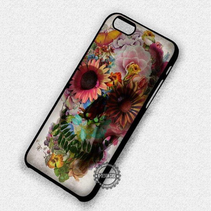 Flower Skull Floral Unique - iPhone 7 6 5 SE Cases & Covers #skull #flower  #phonecase #phonecover #iphonecover #iphonecase #iphone7case #iphone7plus #iphone6case #iphone6plus #iphone6s #iphone6splus #iphoneSE #iphone5case #iphone5c #iphone5s #iphone4case #iphone4s