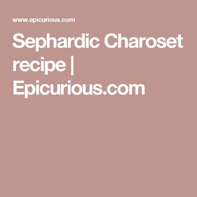 Sephardic Charoset recipe | Epicurious.com