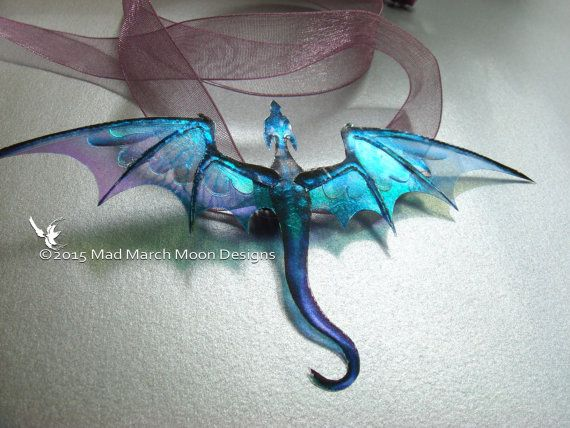 Dragon Necklace, Handmade, Blue Purple, iridescent with lilac organza tied ribbo…