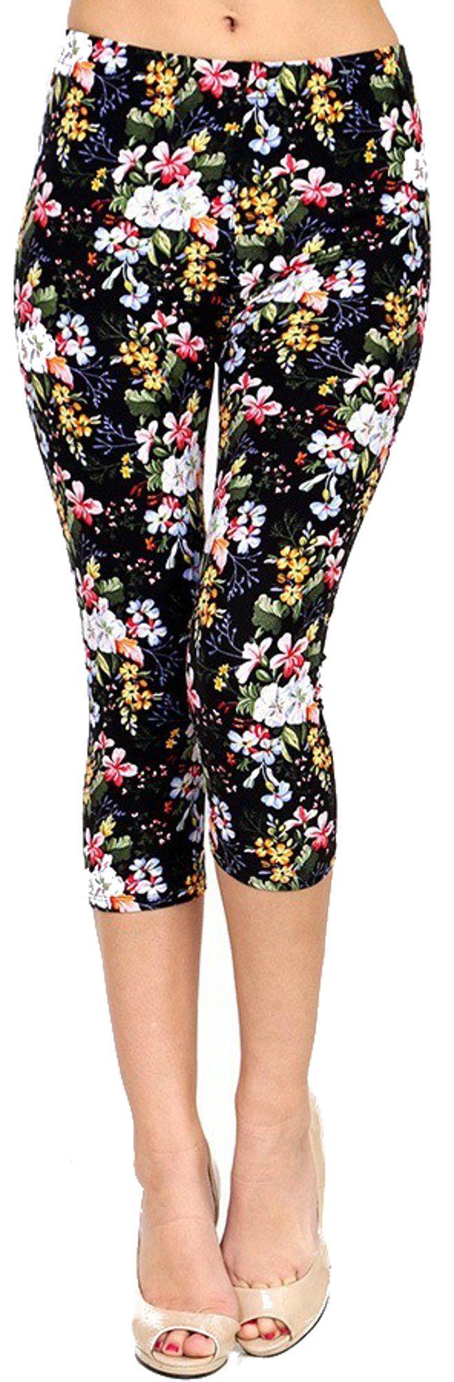 Lush Moda Extra Soft Capri Leggings - Variety of Prints - Field Bouquet Capri